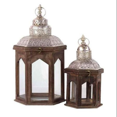 Urban Trends Wooden Lantern Set of Two, Brown