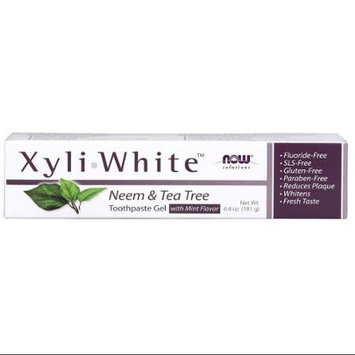 NOW Foods Solutions Xyli White Neem & Tea Tree Toothpaste Gel 6.4 oz - Vegan