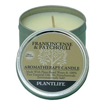 Plantlife Frankincense & Patchouli Aromatherapy Candle- Made with 100% pure essential oils - 3oz tin