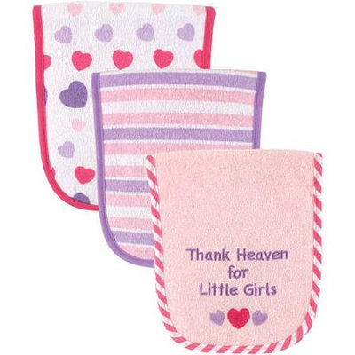 Baby Vision Luvable Friends 3 Pack Baby Burp Cloths - Pink Heart