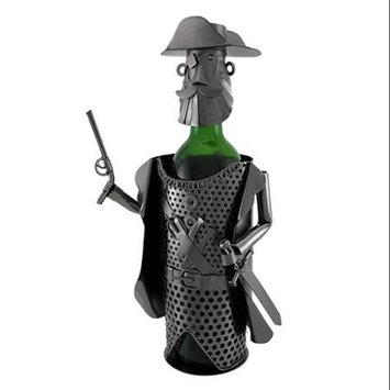 Zeckos Pirate Captain Holding Pistol and Sword Metal Art Wine Bottle Display