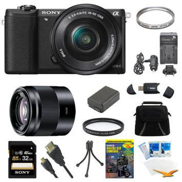 Sony a5100 Mirrorless Camera w/ 16-50mm and 50mm Lens Black Bundle