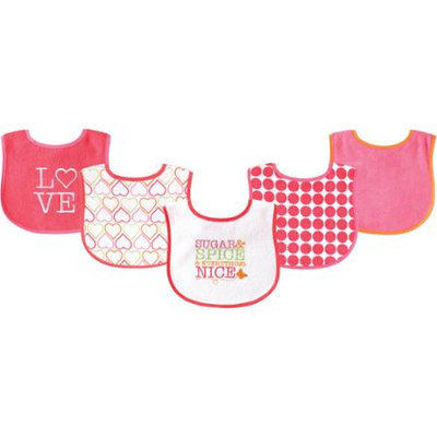 Baby Vision Luvable Friends 5 Pack Drooler Bibs - Sugar and Spice