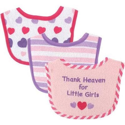 Baby Vision Luvable Friends 3 Pack Drooler Bibs - Pink Heart