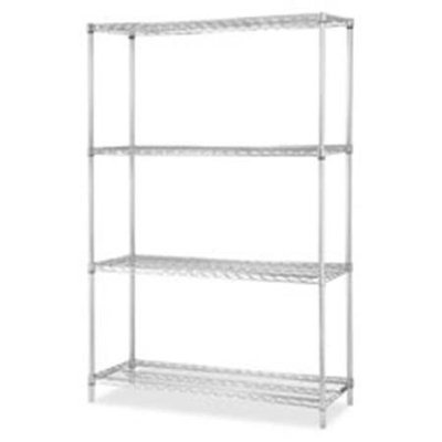 Lorell LLR84184 Industrial Chrome Wire Shelving Starter Kit