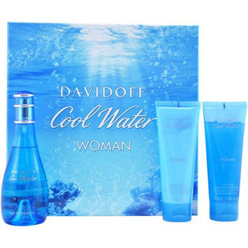 Luxury Perfume Davidoff Cool Water 3 Pcs 3.4 OZ Womans Fragrance Set