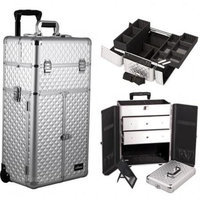 Sunrise Books Sunrise Outdoor Cosmetic Holder Silver Diamond Trolley Makeup Case - I3266
