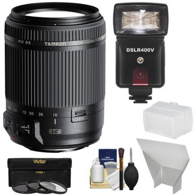 Tamron 18-200mm f/3.5-6.3 Di II VC Zoom Lens (for Canon EOS Cameras) with 3 UV/CPL/ND8 Filters + Flash & LED Video Light + Bounce Diffuser + Reflector + Kit