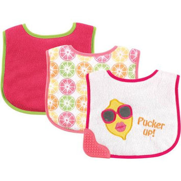 Baby Vision Luvable Friends 3 Pack Bibs with Teether - Pink Lemon