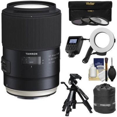 Tamron SP 90mm f/2.8 Di VC USD Macro 1:1 Lens (for Canon EOS Cameras) with 3 UV/CPL/ND8 Filters + Pouch + Ring Light Flash + Tripod + Kit