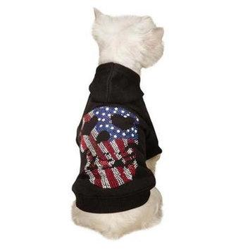 Pet Edge Dealer Services ZandZ Americas Pup Skull Dog Hoodie Small