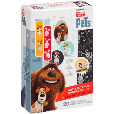 Universal The Secret Life of Pets Antibacterial Bandages - 20 Count