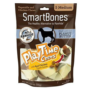 Petmatrix Llc-Smartbones Playtime Chews With Real Chicken Treats- Peanut Butter Medium-5 Pack SBPT-02013