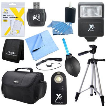 Special 11 Piece Accessory Kit for SLR Cameras with Flash, Tripod, Camera Bag & More