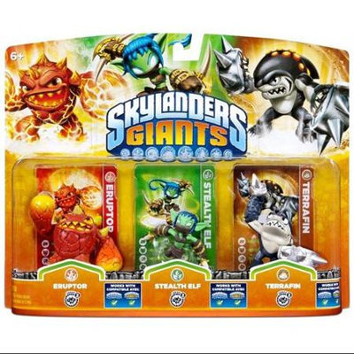 Activision Skylanders Giants Triple Toy Packs -Eruptor - Stealth Elf - Terrafin