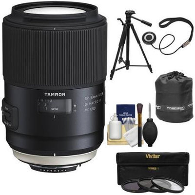 Tamron SP 90mm f/2.8 Di VC USD Macro 1:1 Lens (for Nikon Cameras) with 3 UV/CPL/ND8 Filters + Pouch + Tripod + Kit