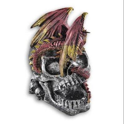 Zeckos Red Dragon on Skull Gothic Statue Wine Bottle Holder
