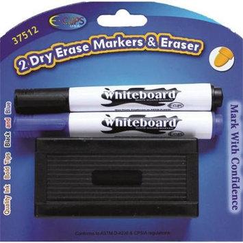 Ddi 1455657 Dry Erase Markers - 2Pk - Black+Blue + Eraser - Case of 48