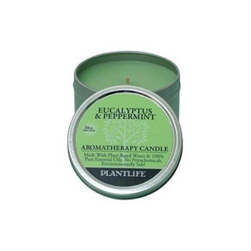 Plantlife Eucalyptus & Peppermint Aromatherapy Candle- Made with 100% pure essential oils - 3oz tin