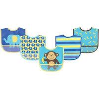 Baby Vision Luvable Friends 5 Pack Waterproof Bibs - Blue