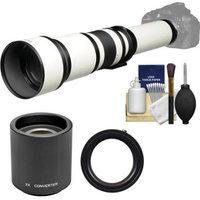 Vivitar 650-1300mm f/8-16 Telephoto Lens (White) (T Mount) with 2x Teleconverter (=2600mm) + Accessory Kit