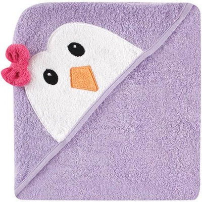 Baby Vision Luvable Friends Animal Face Hooded Terry Towel - Purple Penguin