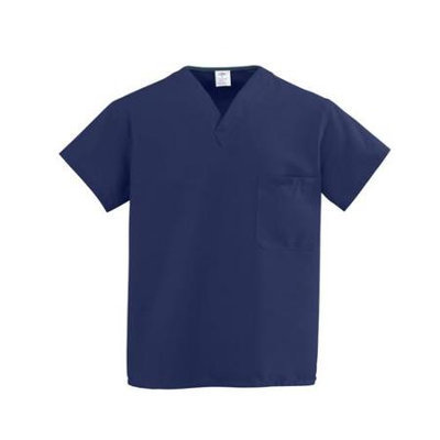 Medline Industries, INC. V-Neck Scrub Shirt, Reversible, Heavyweight, Md, Dark Blue
