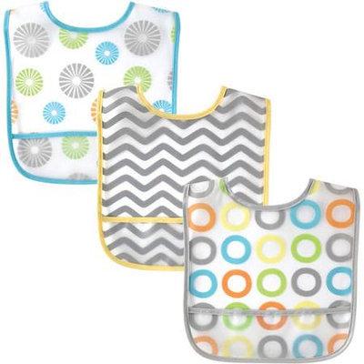 Baby Vision Luvable Friends 3 Pack PEVA Crumbcatcher Bibs - Pink Pinwheel