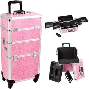 Just Case Sunrise I3161CRPK Pink Crocodile Trolley Makeup Case