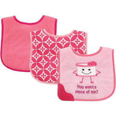 Baby Vision Luvable Friends 3 Pack Bibs with Teether - Cake