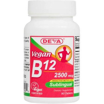 Deva Vegan Vitamins Sublingual B12 - 2500 mcg - 90 Tablets - 1516541