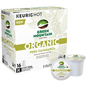Keurig K-Cup Pod Organic Green Mountain Coffee Organic Peru Cajamarca Medium Roast Coffee - 16-pk. (Cocoa/Caramel/Green)