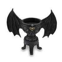 Zeckos Gothic Bat Wing Goblet Style Candle Holder w/Horned Skull Accent