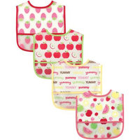 Baby Vision Luvable Friends 4 Pack Water Resistant Bibs with Pocket - Pink
