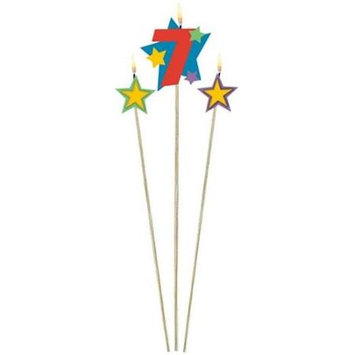 Amscan Number 7 Decorative Pick Candles (3 per package)