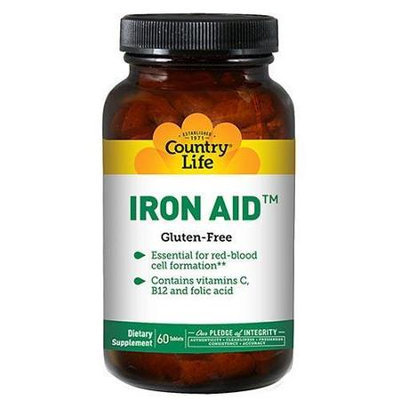 Country life Vitamins Iron-Aid 15 mg - 60 Tablets, 1 Each