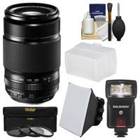Fujifilm 55-200mm f/3.5-4.8 XF R LM OIS Zoom Lens + Flash + Soft Box + Diffuser + 3 Filters Kit for X-A2, X-E2s, X-M1, X-T1, X-T10, X-Pro2 Camera