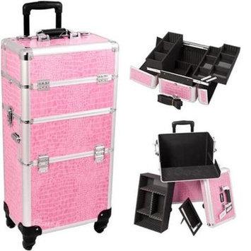 Just Case Sunrise I3261CRPK Pink Crocodile Trolley Makeup Case