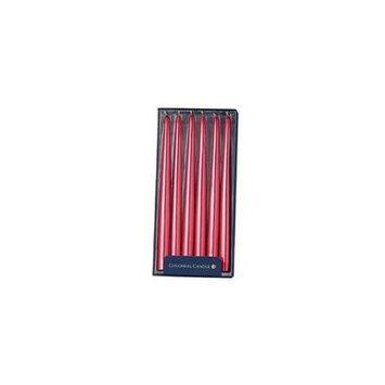 Classic Wax NAAM12.5034 12 in. Unscented Handipt Taper Candles - Red Metallic