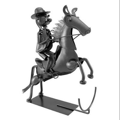 Zeckos Cowboy Rearing Horse Metal Art Wine Bottle Display
