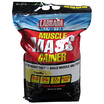 LABRADA NUTRITION Muscle Mass Gainer, Vanilla, 12 lb (5443g)