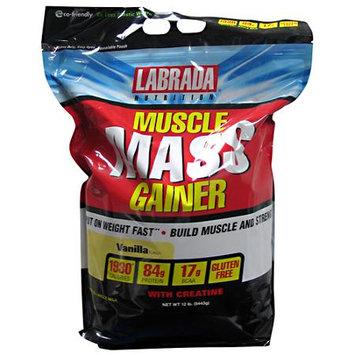 LABRADA NUTRITION Muscle Mass Gainer, Vanilla, 12 lb (5443g)