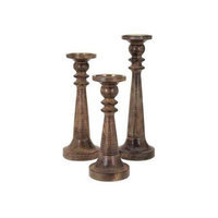 Imax Corporation Mosley Wood Candle Sticks - Set of 3