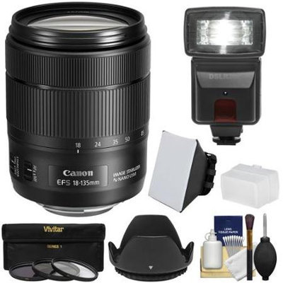 Canon EF-S 18-135mm f/3.5-5.6 IS USM Zoom Lens with Flash + Soft Box + Bounce Diffuser + 3 UV/CPL/ND8 Filters + Hood + Kit
