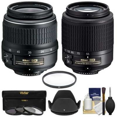 Nikon 18-55mm f/3.5-5.6G II DX AF-S ED Zoom-Nikkor Lens with AF-S 55-200mm G DX ED Lens + 4 Filters + Hood + Kit