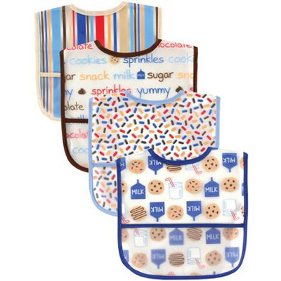 Baby Vision Luvable Friends 4 Pack Water Resistant Bibs with Pocket - Blue