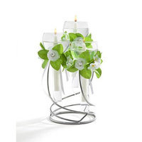 Studio Silversmiths 3 Light Glass Floating Candle Holder With Silver Metal Stand