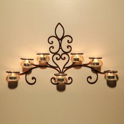 Adecotrading Iron Wall Sconce Candle Holder
