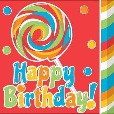 Creative Converting 661424 Sugar Buzz - Lunch Napkins Happy Birthday - Case of 192