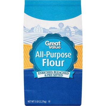 Great Value: Flour All Purpose Bleached Enriched Pre-Sifted Baking Supply, 5 Lb
